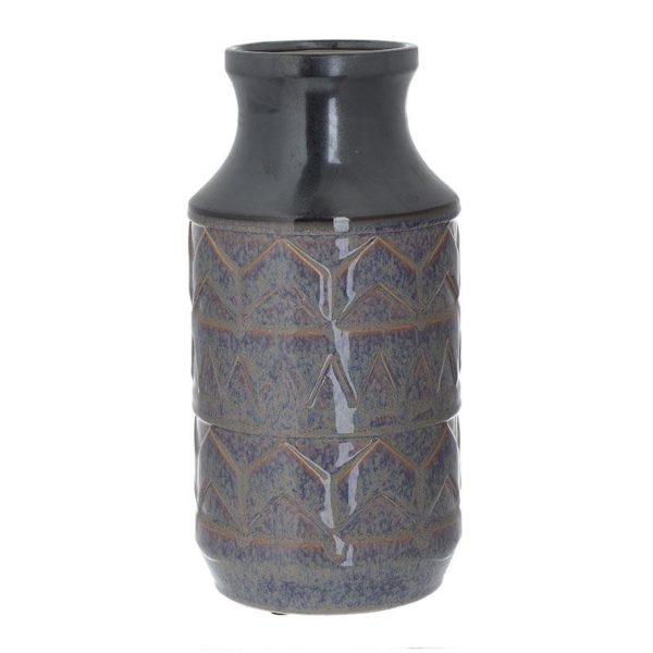 Διακοσμητικό Βάζο Κεραμικό Με Ανάγλυφα Γεωμετρικά Μοτίβα Μωβ/ Καφέ Υ33