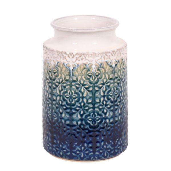 Διακοσμητικό Βάζο Κεραμικό Με Ανάγλυφο Σχέδιο Μπλε/ Εκρού 'Fading' Δ18 Υ28