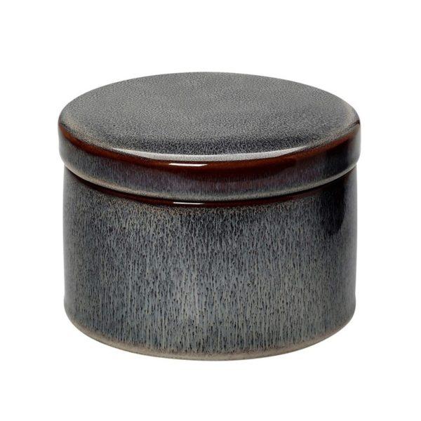 Διακοσμητικό Βάζο Κεραμικό Στρογγυλό Με Καπάκι, Γκρι/ Μπορντό Υ8