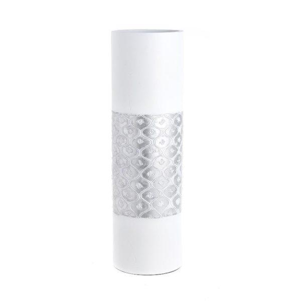 Διακοσμητικό Βάζο Λευκό Με Ασημί Σκάλισμα Υ50