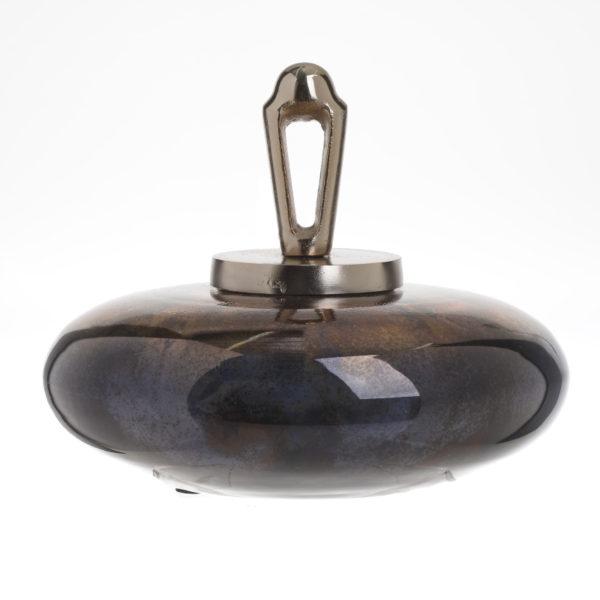 Διακοσμητικό Βάζο Με Καπάκι Από Φυσητό Γυαλί Χρυσό/ Μαύρο Δ29 Υ22