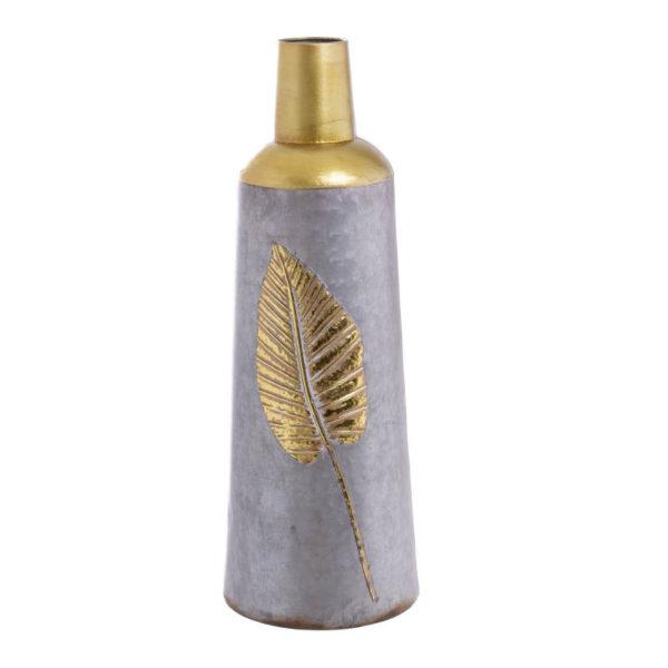 Διακοσμητικό Βάζο Μεταλλικό Γκρι/ Χρυσό 'Φύλλο' Υ59