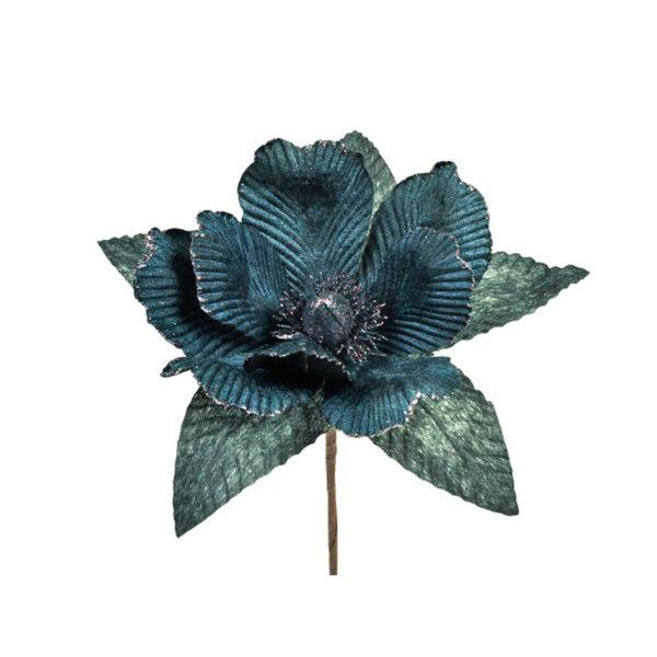 Διακοσμητικό Βελούδινο Πικ Μανόλια Βαθύ Μπλε Υ30