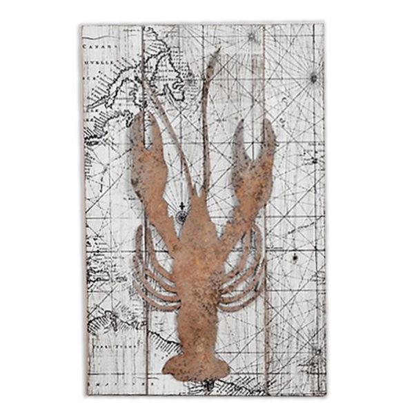 Διακοσμητικό Ξύλινo Ορθογώνιο Παλιός Χάρτης Με Αστακό 39,50x60