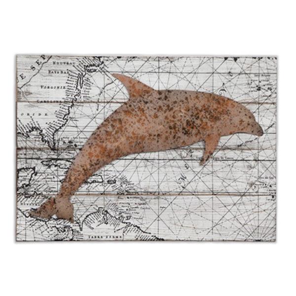 Διακοσμητικό Ξύλινo Ορθογώνιο Παλιός Χάρτης Με Δελφίνι 60x39.5