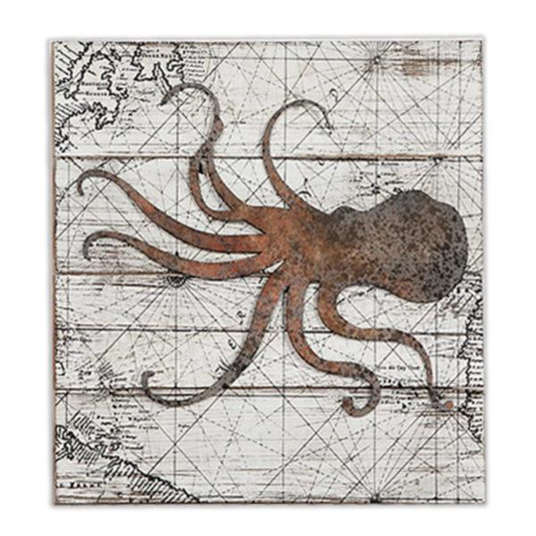Διακοσμητικό Ξύλινo Ορθογώνιο Παλιός Χάρτης Με Σουπιά 50x50