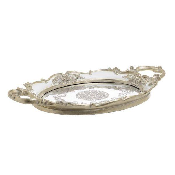Διακοσμητικός Δίσκος Αντικέ Με Καθρέπτη Λευκός/ Χρυσός 'Victorian' 40.5x25