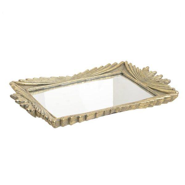 Διακοσμητικός Δίσκος Με Καθρέπτη Αντικέ Χρυσός 40x27x3.5, Inart
