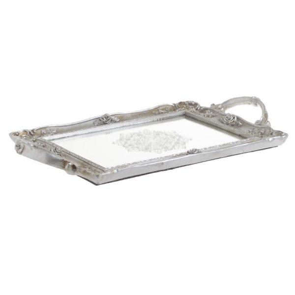 Διακοσμητικός Δίσκος Με Καθρέπτη Αντικέ Με Ανάγλυφα Τριανταφυλλάκια Ασημί 35x22