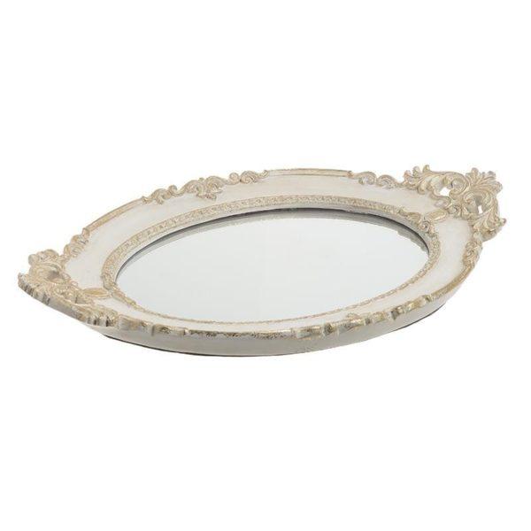 Διακοσμητικός Δίσκος Με Καθρέπτη Λευκός Με Χρυσή Λεπτομέρεια 43.5x27