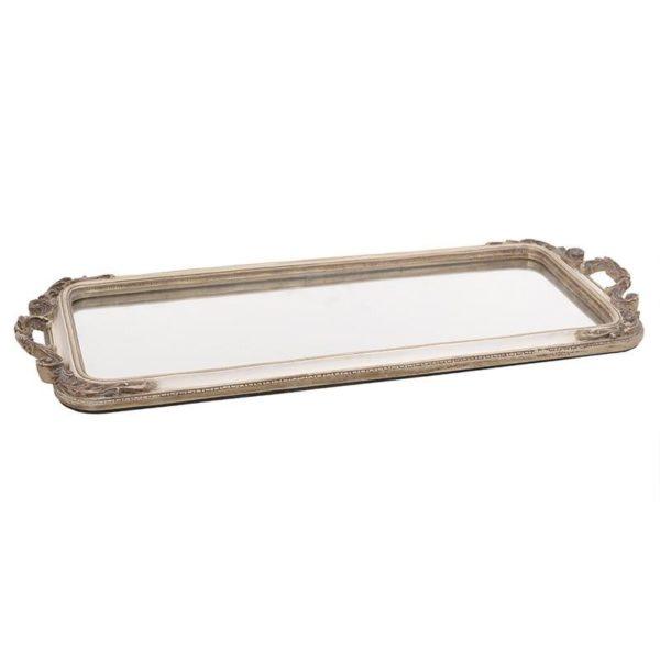 Διακοσμητικός Δίσκος Με Καθρέπτη Ορθογώνιος Εκρού/ Χρυσός 50x22