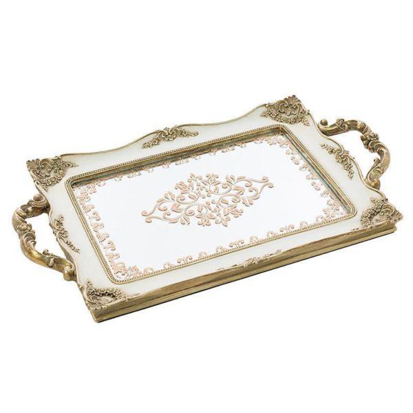 Διακοσμητικός Δίσκος Με Καθρέπτη Ορθογώνιος Λευκό/ Χρυσό 41x25