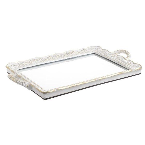 Διακοσμητικός Δίσκος Με Καθρέπτη Ρομαντικός Λευκός Με χρυσή Πατίνα 42x25