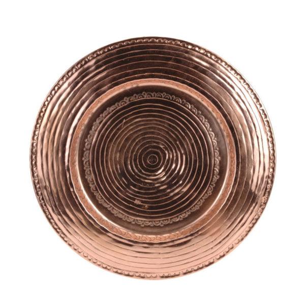 Διακοσμητικός Δίσκος Σφυρήλατος Με Ανάγλυφα Σχέδια Χάλκινος Δ48