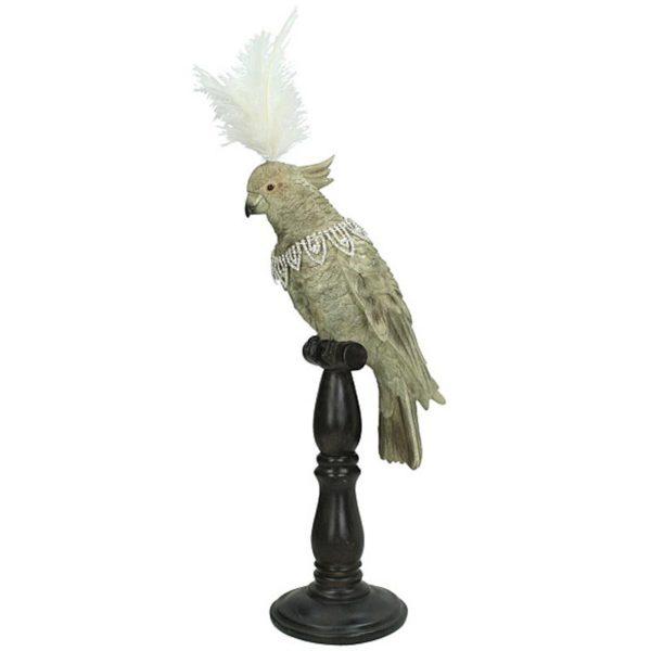 Διακοσμητικός Παπαγάλος Σε Σταντ Γκρι/ Λευκό Με Φτερό Y53 | ZAROS