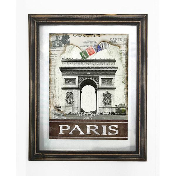"""Διακοσμητικός Πίνακας Με Τζάμι Και Ξύλινη Κορνίζα Αντικέ """"Paris'' 39x48"""