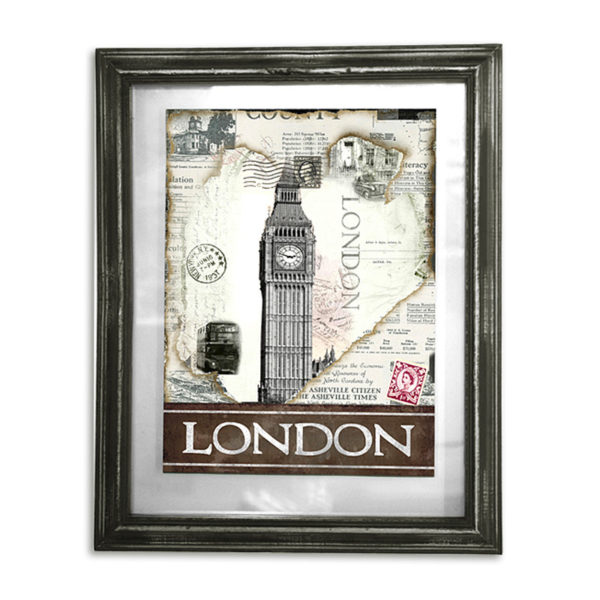 """Διακοσμητικός Πίνακας ΜεΤζάμι Και Ξύλινη Κορνίζα Αντικέ """"London'' 39x48"""