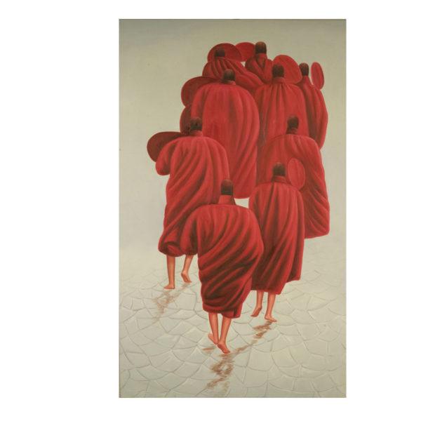 Διακοσμητικός Πίνακας 'Μοναχοί Με Κόκκινα Ρούχα' 80x130