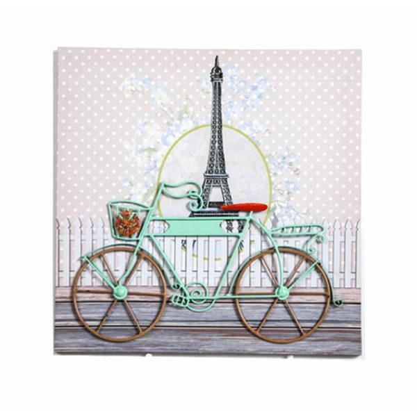 Διακοσμητικός Πίνακας Σε Καμβά Υφασμάτινο 'Bicycle' Λιλά/ Βεραμάν 40x40