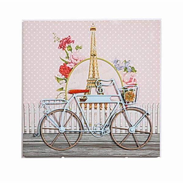 Διακοσμητικός Πίνακας Σε Καμβά Υφασμάτινο 'Bicycle' Ροζ Πουά/ Βεραμάν 40x40