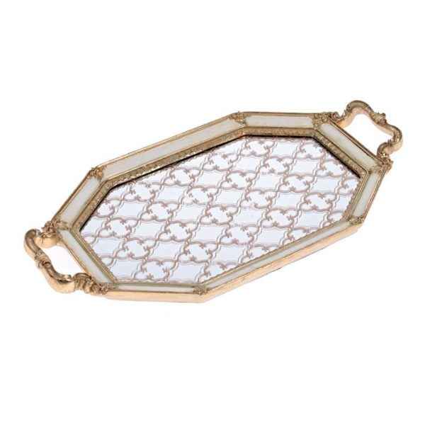 Δίσκος Με Καθρέπτη Πολυγωνικός Εκρού/ Χρυσό 41x22