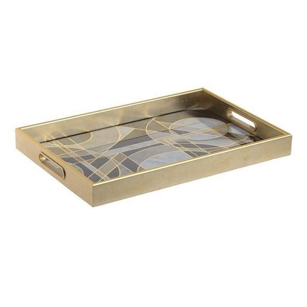 Δίσκος Σερβιρίσματος Ορθογώνιος Ξύλινος Χρυσός/ Μαύρος 45.5x30x4.5