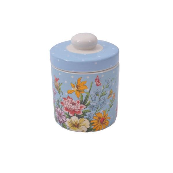 Δοχείο Για Καφέ Κεραμικό Φλοράλ/ Πουά Μπλε Με Λουλούδια Υ16