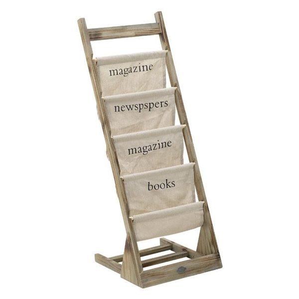Εφημεριδοθήκη Ξύλινη Ψηλή Με Υφασμάτινες Θήκες 'Magazine' 42x44 Y112,5