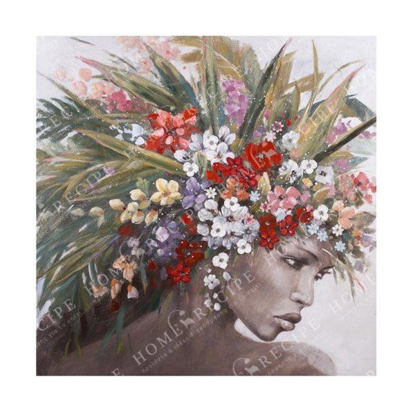 Ελαιογραφία Αφρικάνα Με Απλικαρισμένα Λουλούδια 120x120