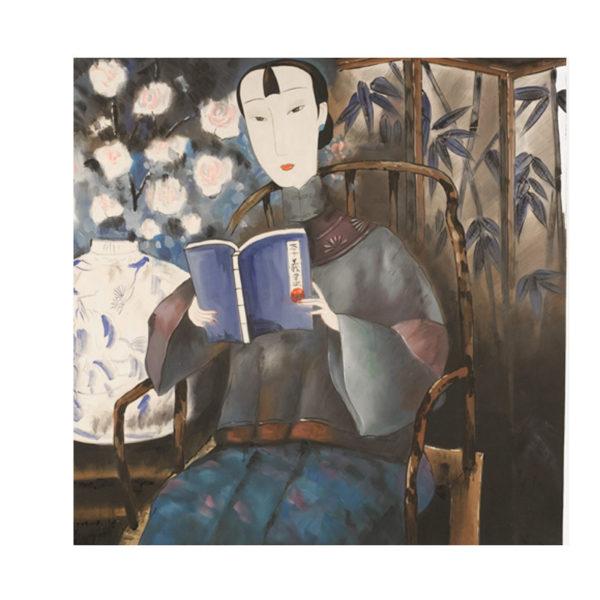Ελαιογραφία Με Γκέισα Που Διαβάζει 80x80