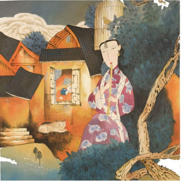 Ελαιογραφία Με Γκέισα Που Παίζει Φλάουτο 80x80