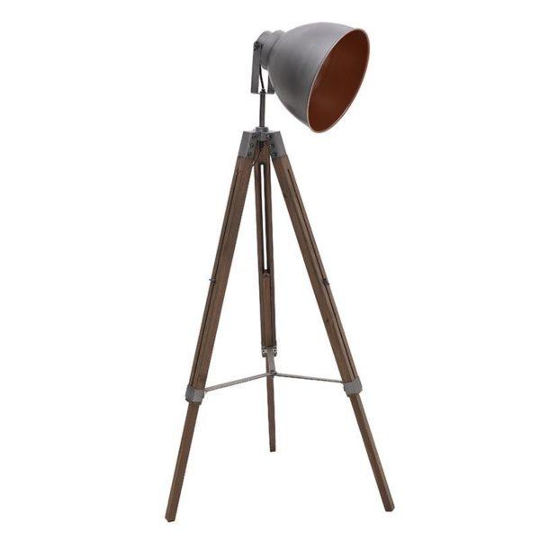 Επιδαπέδια Λάμπα Τρίποδας Ξύλινη/ Μεταλλική Γκρι/ Καφέ 40x18 Υ137