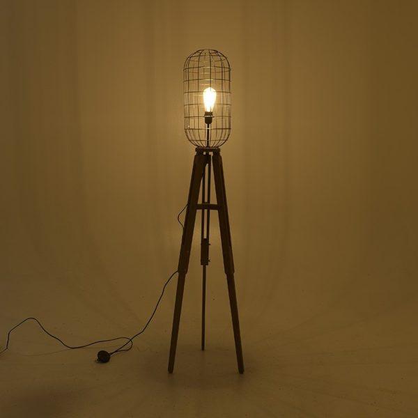 Επιδαπέδιο Φωτιστικό Τρίποδας Ξύλινο/ Μεταλλικό Natural/ Μαύρο 'Idea' Δ37 Υ156