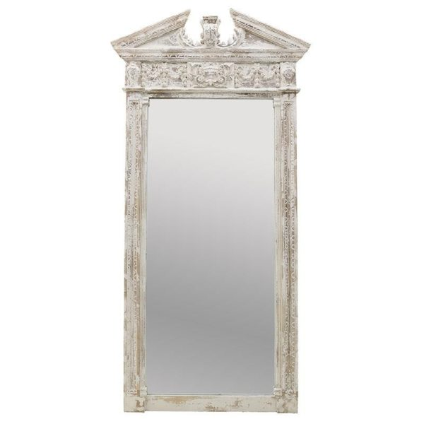Επιδαπέδιος Καθρέπτης Ξύλινος Αντικέ Λευκό 'Ancient Gate' 100x200, Inart