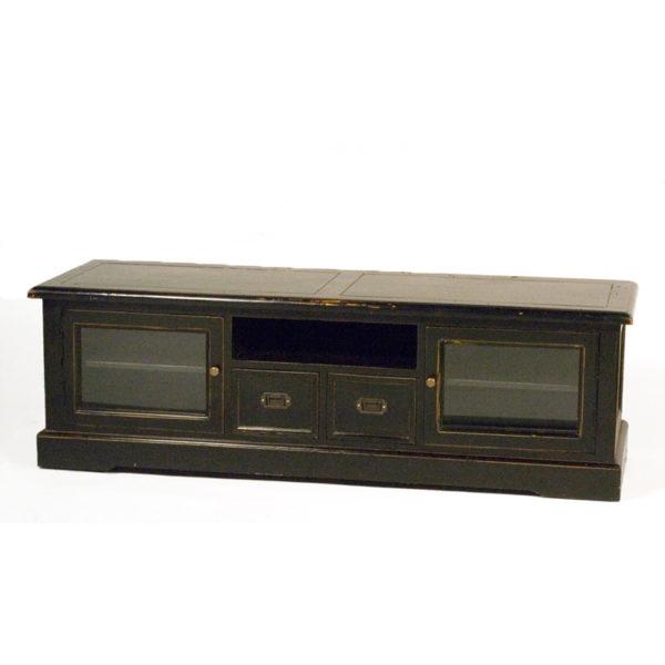 Έπιπλο Τηλεόρασης Ξύλινο Country Με 2 Συρτάρια Και 2 Ντουλάπια Μαύρο 150x50 Y50