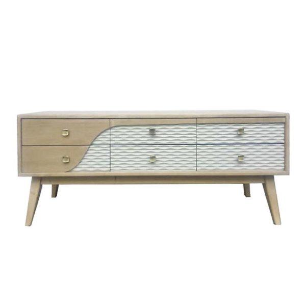 Έπιπλο TV Ξύλινο 'Danish' Natural Beige/ Λευκό Με 6 Συρτάρια 120x40 Υ50