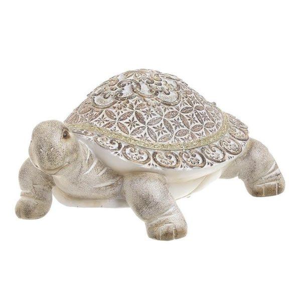 Επιταπέζια Διακοσμητική Χελώνα Εκρού/ Καφέ 21x16x10 Inart