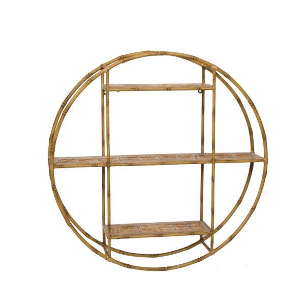 Επιτοίχια 3θέσια Ραφιέρα Στρογγυλή Μεταλλική Σχέδιο Bamboo Δ80