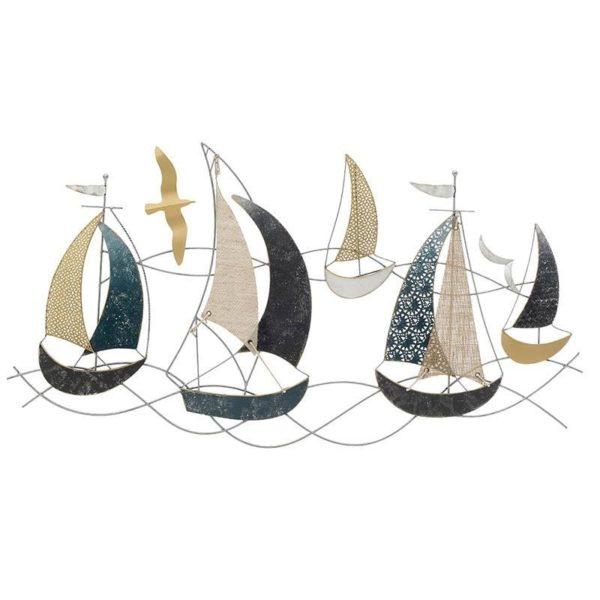 Επιτοίχια Διακοσμητική Σύνθεση Μεταλλική Μαύρη/ Λευκή/ Χρυσή 'Καράβια' 100x45x51cm