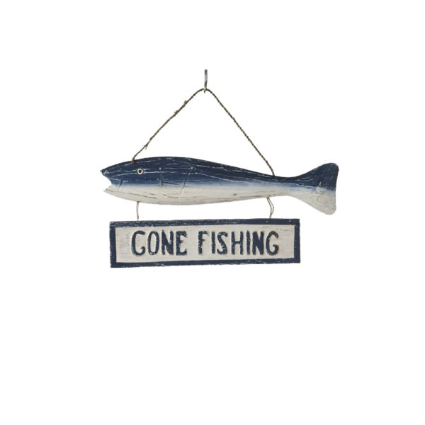 Επιτοίχια Διακοσμητική Ταμπέλα Ξύλινη 'Gone Fishing'