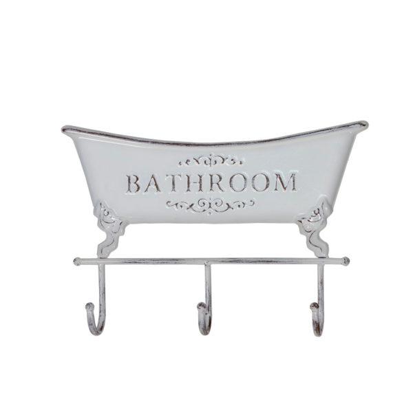 """Επιτοίχια Μεταλλική Κρεμάστρα Μπάνιου 3θέσια Λευκή Αντικέ """"Bathroom"""" Μ35.5"""