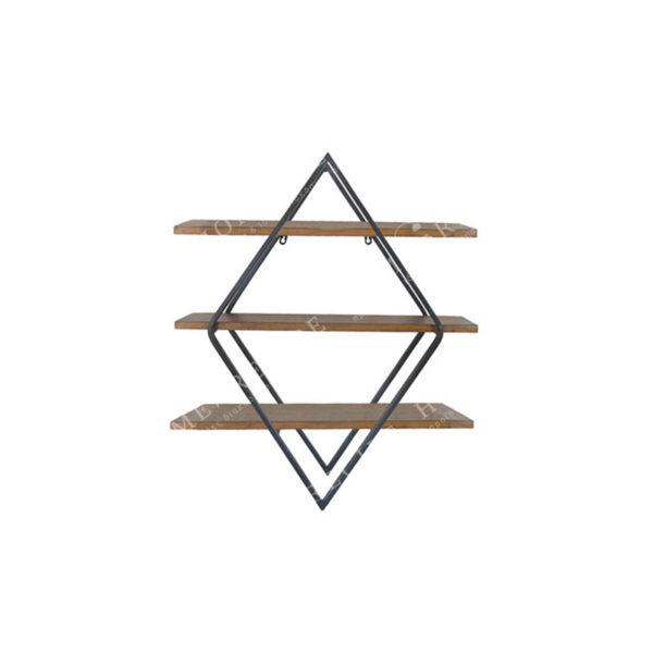 Επιτοίχια Ραφιέρα Μεταλλική Με Ξύλινα Ράφια 3θέσια 'Ρόμβος' Μ66 Υ77