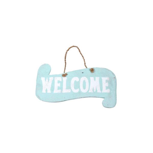Επιτοίχια Ξύλινη Κρεμαστή Ταμπέλα Σιέλ 'Welcome'