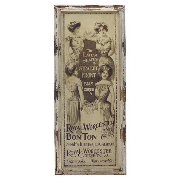 Επιτοίχιο Διακοσμητικό Με Γυναίκες Εποχής Σε Ξύλινη Κορνίζα 54x3x129cm