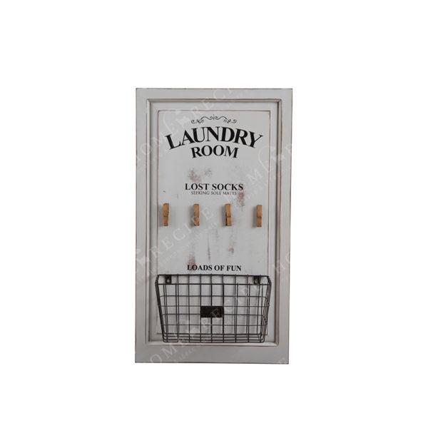 """Επιτοίχιο Διακοσμητικό Με Καλάθι Μεταλλικό/ Ξύλινο """"Laundry Room''"""