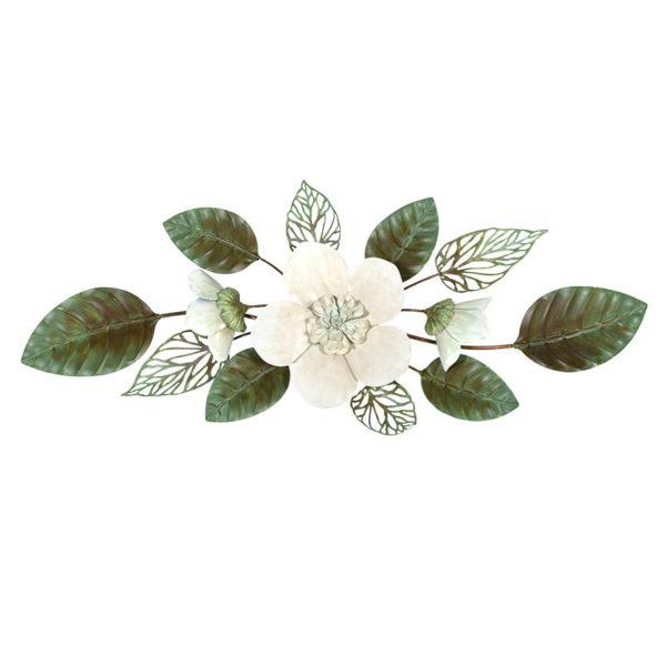 Επιτοίχιο Διακοσμητικό Μεταλλικό Λευκό/ Πράσινο 'Jardin' 97x9 Υ32