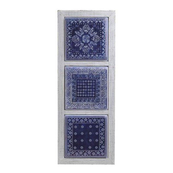 Επιτοίχιο Διακοσμητικό Ξύλινο/ Μεταλλικό Μπλε/ Λευκό 'Ethnic' Y72, Inart