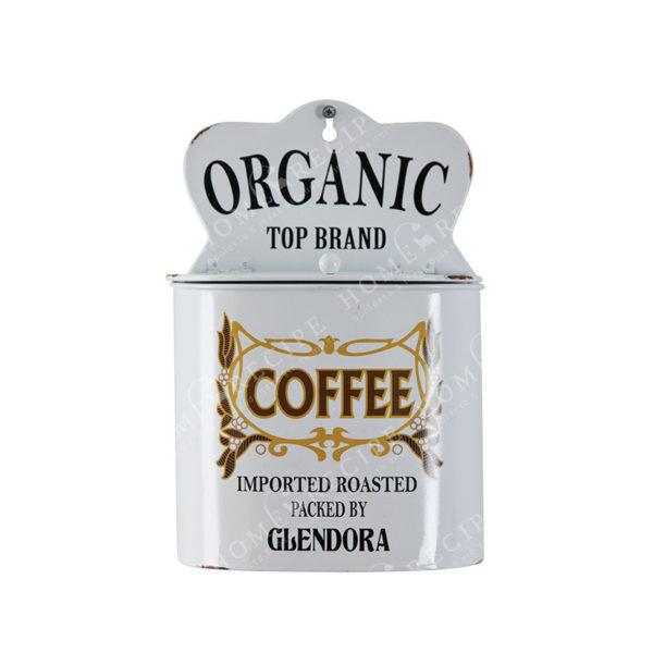 Επιτοίχιο Δοχείο Για Καφέ Μεταλλικό Λευκό, Vintage Ετικέτα ''Coffee''