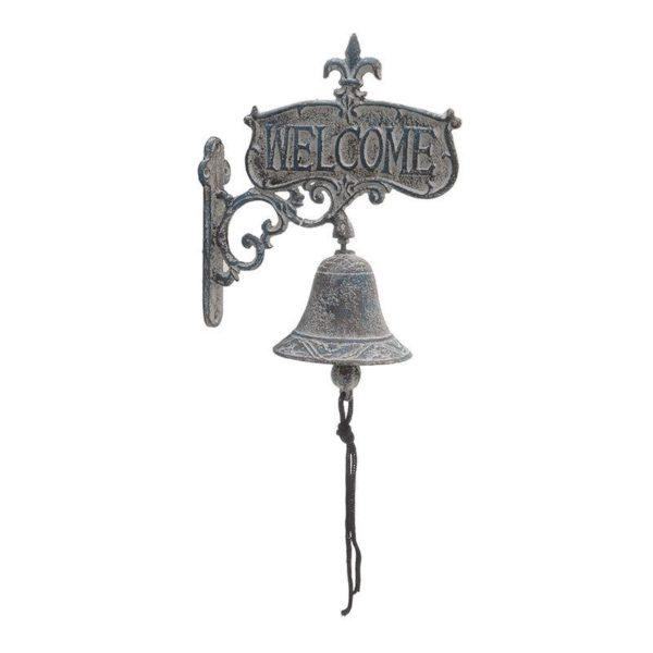 Επιτοίχιο Καμπανάκι Σε Βάση Μεταλλικό Γκρι Με Παλαίωση ''Welcome'' Υ19