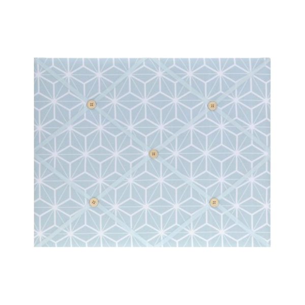 Επιτοίχιο Memo Board Υφασμάτινο Με Μπεζ Κουμπάκια Λευκό/ Γαλάζιο Μοτίβο